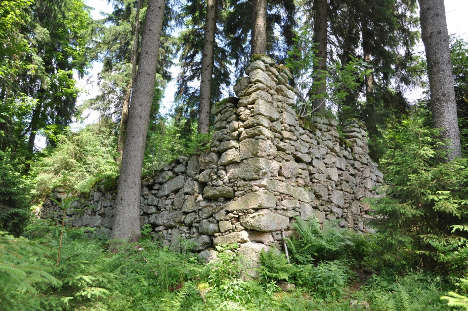 Rozvaliny hostince U alpské vyhlídky v zaniklé osadě Kamenec. Autor: M. Bureš.